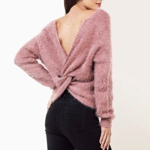 HIPPIE ROSE  Fluffy back Knot Sweater Size Small